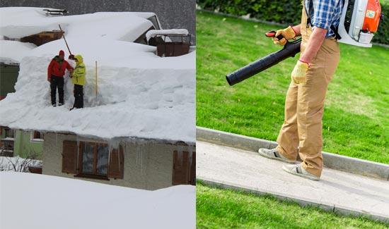 Le déneigement et la coupe de pelouse font partie de l'entretien paysager résidentiel et commercial
